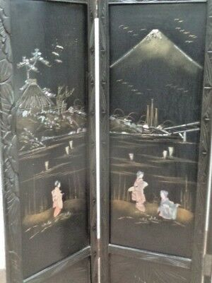 Antique Chinese Screen With Mother Of Pearl Inlay mount fuji c.1900