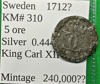 World Foreign Old Sweden Silver 1712? Coin 5 Ore KM#310 !!