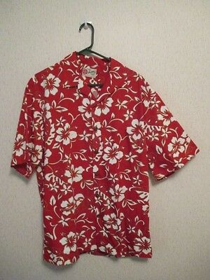 08ded401f1 MEN'S HILO HATTIE Hawaiian Shirt Red/White Button Front Left Pocket  Hibiscus L