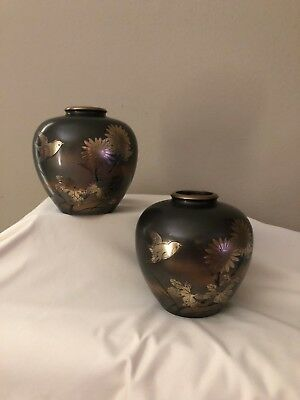 ANTIQUE !!! Pair of Japanese Bronze Mixed Metal Vases with Relief