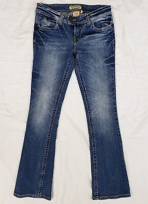 YMI JEANS Womens Distressed Low Rise Skinny Boot Cut Stretch Jeans Size 3
