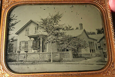 Half Plate Ambrotype : Outdoor Scene of a House c.1860