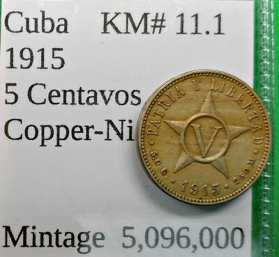 World Foreign Old Spanish American Islands 1915 Coin 5 Centavos KM#11.1 !!