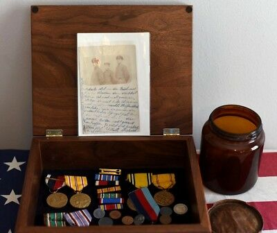 Wwii Org Medals (3) Collectors Box, Ribbons, Old German Coins (4) Medals 1950's