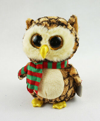 "6"" TY Beanie Boos Glitter Eyes Wise Owl With Hang Tag Plush Stuffed Toys"