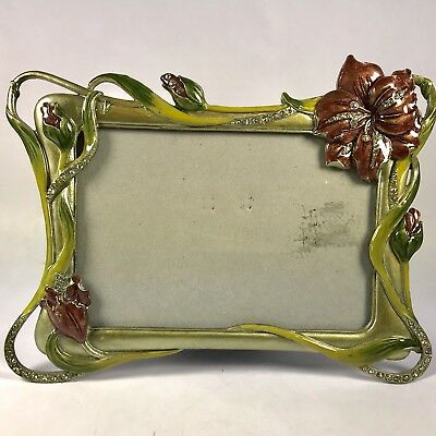 Floral Picture Frame 4x 6 Enamel On Metal with Crystals Lilies Green Purple
