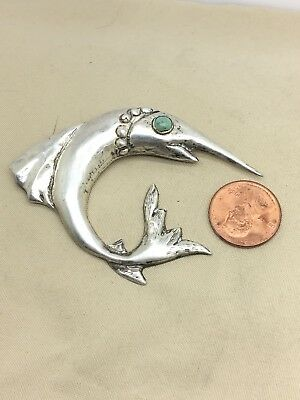 Vtg Sterling Silver Turquoise Marlin Brooch Pin Signed SILVER 10.1g B20