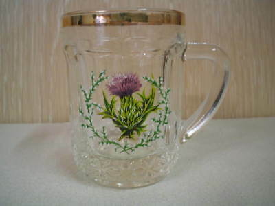 Glass Miniature Tankard with Thistle & Heather Design - Vintage - Made in France