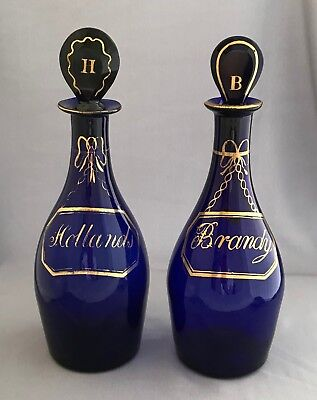 Pair of 19th c. Bristol Blue Gilded Decanters Hollands & Brandy