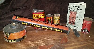 McCormick Bee Brand Insect Sprayer with 4 different tins and RARE orig booklet