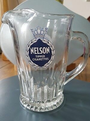 Vintage Nelson Tipped Cigarettes  Glass Water Pub Jug Pitcher