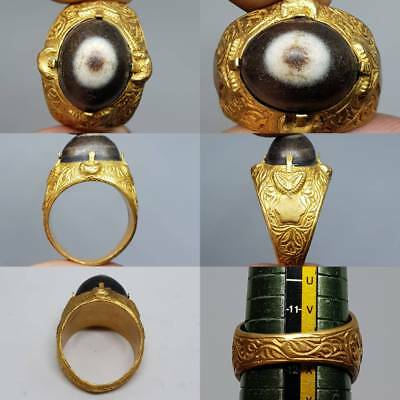 Wonderful Old rare Agate stone Gold gilding Ring    # 2z