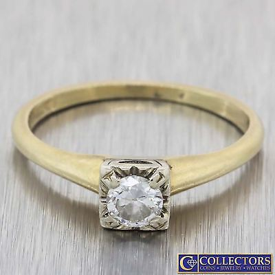 1920s Antique Art Deco 14k Yellow Gold .33ctw Solitaire Diamond Engagement Ring