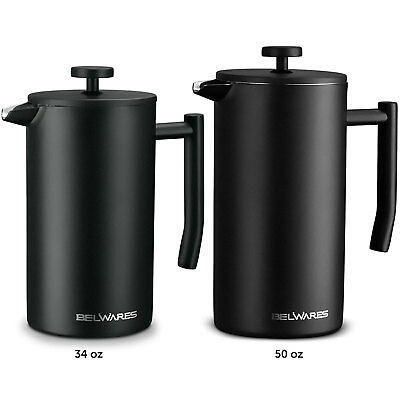 Belwares Stainless Steel Large French Press Coffee Maker with Extra Filters