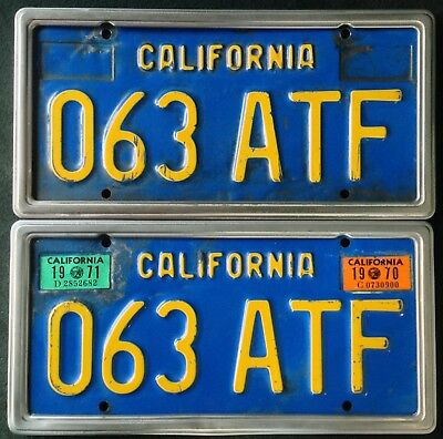 Pair of 1970-1979 DMV CLEAR California Blue/Yellow CAR License Plates set, lot 2
