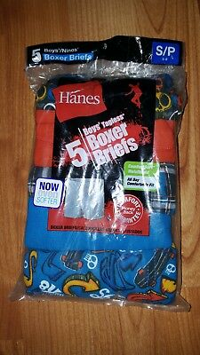New Hanes Boys 5 Pack Of Tagless Boxer Briefs Size Small Assorted Colors
