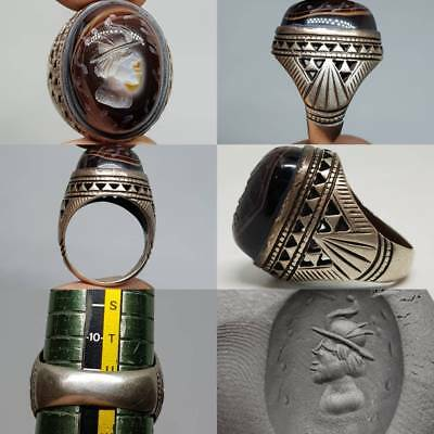 Emperor Face Antique Sulaimany Agate stone , Silver Ring      # 2z