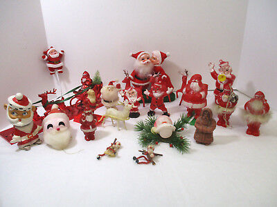 Vintage Santa Claus LOT - Candy Containers -Ornaments-Wax-HUGE VINTAGE SANTA LOT