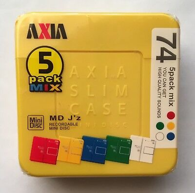 Axia MD 74 J'z Paki Minidisc - Yellow 5 Color Mix Pack - Sealed