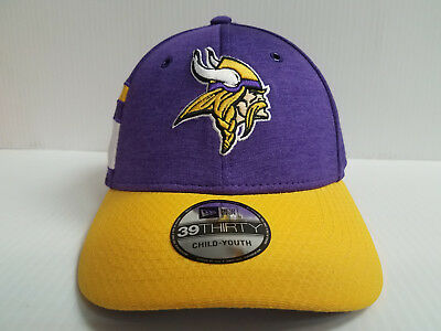 YOUTH Minnesota Vikings Cap New Era 39Thirty Stretch Fit 2018 Home Sideline  Hat 2f9adb711