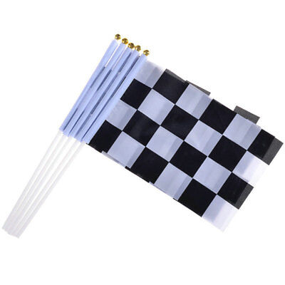 10 Fabric F1 Black and White Checkered Chequered Hand Waving Racing Car Flag