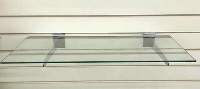 """24"""" W x 12"""" D x 3/16"""" Thick Safety Tempered Retail Glass Shelves"""