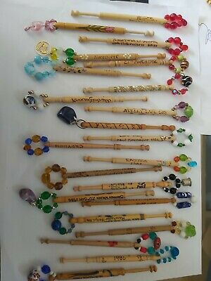 lace bobbins bundle 28  vintage with dates / places spangled new all spangled