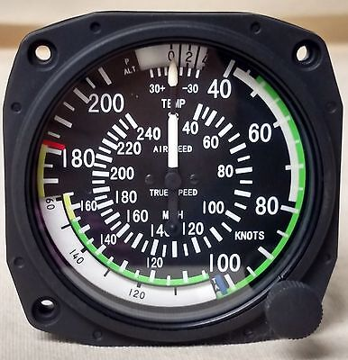 True Airspeed Indicator 40-210 Knots/40-240 MPH - Lighted