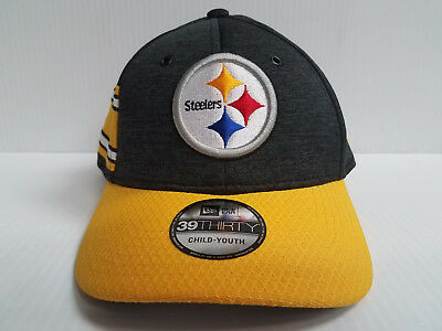 cheap for discount 7fbb6 576f1 YOUTH Pittsburgh Steelers Cap New Era 39Thirty Stretch 2018 Home Sideline  Hat