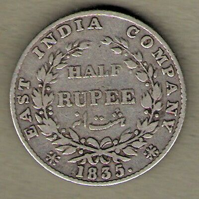 India 1835 British East India Company King William IIII 1/2 Rupee Silver Coin