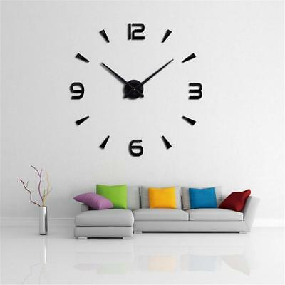 Morn 3D Large Mirror Surface Wall Clock Sticker Home Office Decor   s