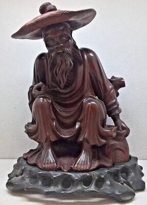 Antique Chinese Wooden Figurine Stunning Carving