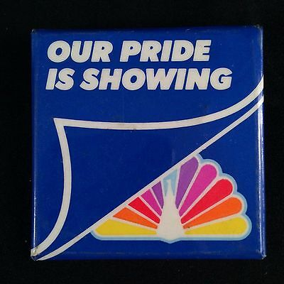 Vintage 80s NBC Peacock Logo Button Pin Our Pride is Showing Rainbow Gay Pride