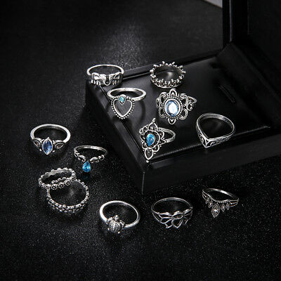 13Pcs Vintage Silver Plated Crystal Ring Set Female Jewelry Gift CB