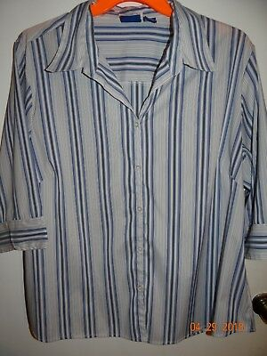DCC Woman Plus Size 2X White & Blue Striped Blouse Button Front FREE SHIPPING