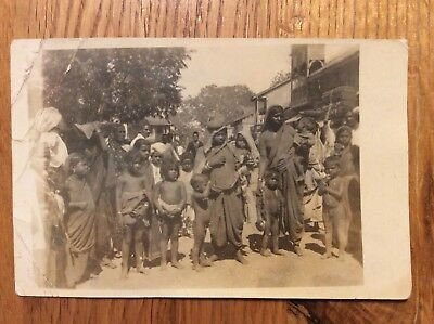Vintage Postcard, Ethnic, Villagers With Children, Asia?, Real Photo