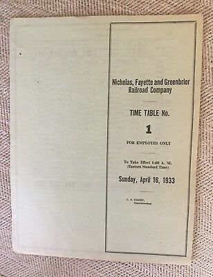 Nicholas, Fayette and Greenbrier Railroad 4/16/33 Employee Timetable(C&O/NYC JT)