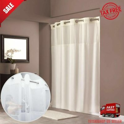 HOOKLESS SHOWER CURTAIN Mesh Window Bottom Magnets Anti Mildew 70 X