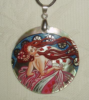 Russian Mother of pearl Pendant Muse of Dance by Mucha Art Nouveau Hand Painted