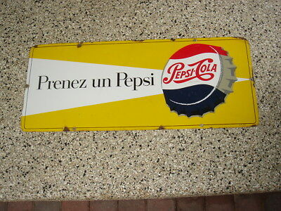 "Vintage Pepsi-Cola Porcelain single dot Sign -French ""Prenez un Pepsi"""