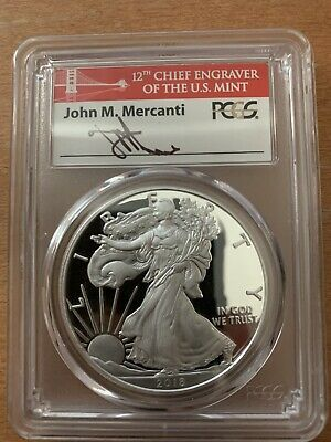 2018 S MERCANTI FLAG Silver Eagle - PCGS PR70 - First Day of Issue - POP 400!