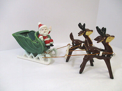 VINTAGE Napco Santa and Sleigh and Reindeer Ceramic Christmas  Figurine