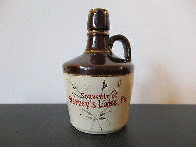 Circa 1900 Souvenir New Brighton Pottery Whiskey Jug Harveys Lake Pennsylvania *