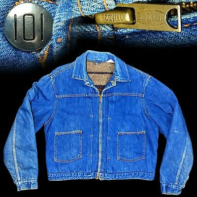 Vintage 1950s 1960s Montgomery Ward 101 One O One pleated denim jacket 42 44