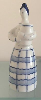 Gzhel Russian Ussr Pottery- Woman With Vase - Vintage