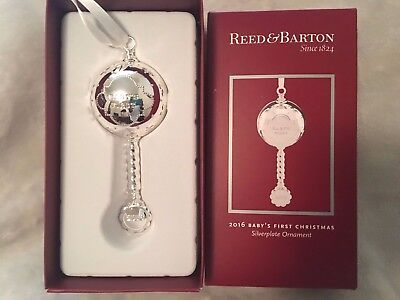 REED and BARTON 2016 babys first christmas silverplate ornament-NIB