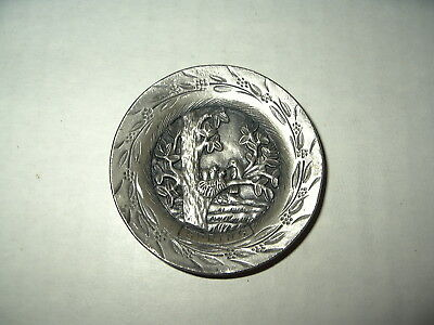 """Vintage Signed TORINO Pewter """"Spring"""" Round Small Plate Pendant"""