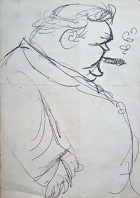 Cuban Art. Sketch by Juan David. Winston Churchill, n/d. Ink on paper. Original.