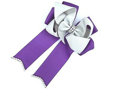 5inch Rhinestone Center Boutique Cheer Bow Hair Clip(Purple & Grey)