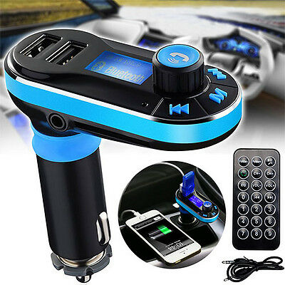 Bluetooth MP3 Player FM Transmitter Car Kit Radio 2 USB Ports Charger Hands free